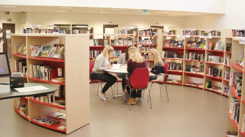 Elever rundt bord på skolebiblioteket